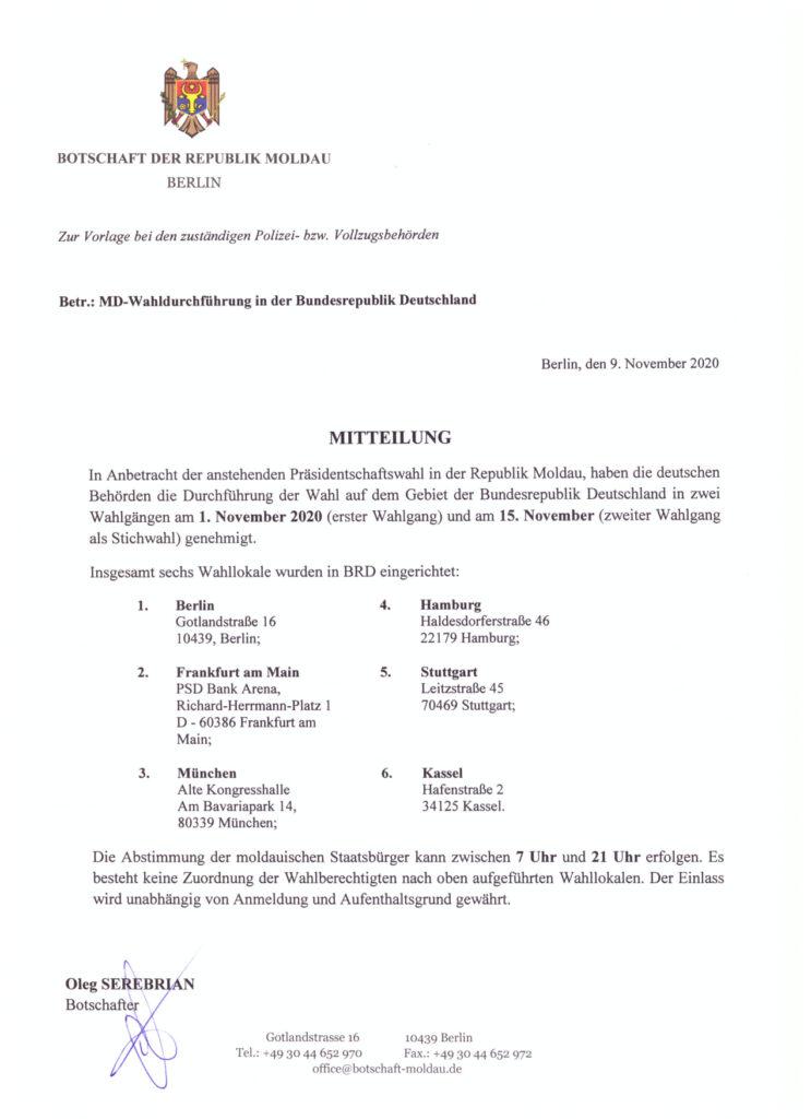 Informație pentru diasporă: Au fost modificate adresele secțiilor de votare din Frankfurt și München