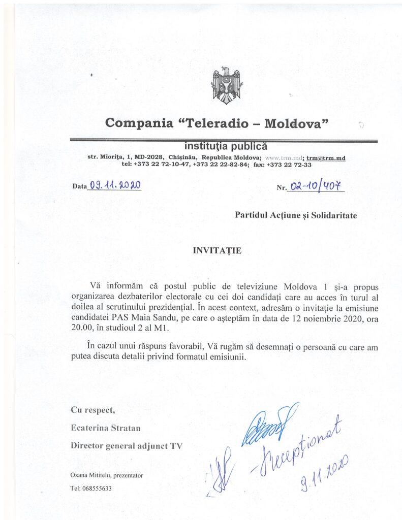 Televiziunea Moldova 1 DEZMINTE declarațiile Maiei Sandu precum că nu ar fi fost invitată la dezbateri - DOC