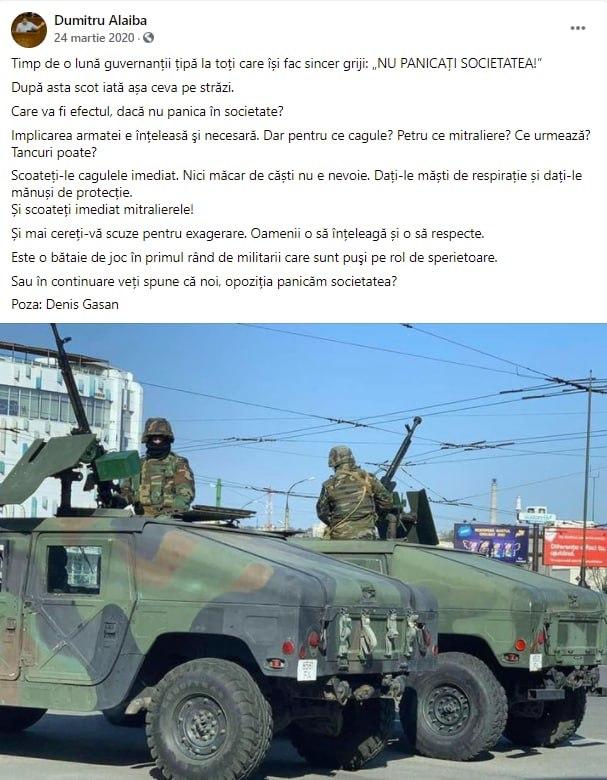 """Maia Sandu scoate Armata Națională pe străzi. Alaiba: """"Care va fi efectul, dacă nu panica în societate?"""""""