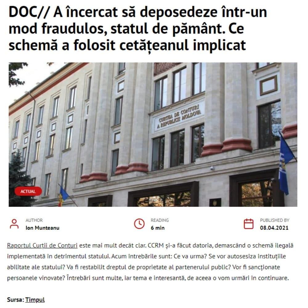 TIMPUL.MD a publicat o investigație FALSĂ? Drept la replică pentru Valeriu Guzun
